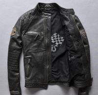 echtes lederjacken verkauf großhandel-Vintage schwarze rotlederhaut motoröl männer echte lederjacken kuh leder motorradjacke zum verkauf