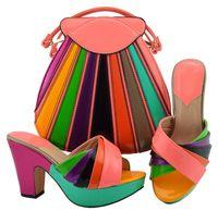 schuhe handtaschen sets großhandel-Meistverkaufter Pfirsich und farbenfrohe Damen Pumps mit einer großen Tasche