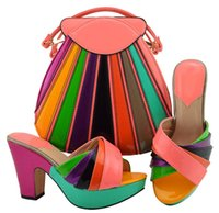 Wholesale matching shoes bag wedding resale online - Top selling peach and colorful women pumps with a big bag set african shoes match handbag for dress MD008 heel CM