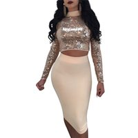 yaka yaka gemisi toptan satış-Toptan Ücretsiz Kargo Kadınlar Sequins Standı Yaka Lace Up Moda Uzun Kollu 2 parça Bandaj Elbise