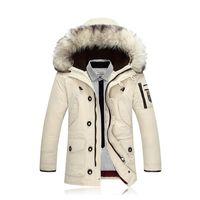 ingrosso lungo maschile di pelliccia-LEFT ROM 2017 Inverno nuovi uomini Down Jacket Fashion Casual con cappuccio spesso caldo cappotto lungo collo di pelliccia / maschio SLIM Fit cappotto lungo