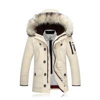 kürk yakalı uzun ceket erkek toptan satış-SOL ROM 2017 Kış Yeni erkek Aşağı Ceket Moda Rahat Kapüşonlu Kalın Sıcak Uzun Coat Kürk Yaka Ceket / Erkek SLIM Fit uzun ceket