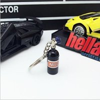 Wholesale model auto parts - 2018 New Arrival Fashion Auto Parts Model 8 Styles Colors mini-NOS Bottle Keyring Keychain Car Key Chain Keyring Keyfob Free Shipping