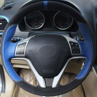 haval h6 toptan satış-Siyah Süet Mavi Hakiki Deri DIY El-dikişli Araba Direksiyon Simidi Kapağı Büyük Duvar Haval Hover H6 için