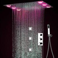 chorros de ducha de masaje corporal al por mayor-Modern Auto-termostato juego de ducha 50x36cm ducha de lluvia de 3 LED Body Spray Jets 4 '' Masaje