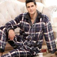 moldura conjunto de dormir venda por atacado-Thoshine Inverno Grosso Coral Fleece Homens Pijama Conjuntos de Sono Tops Bottoms Masculino Flanela Quente Sleepwear Térmica Roupas Para Casa
