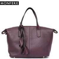 подушки в стиле сумочки оптовых-MONFERE Fashion Style Youth Cow Leather Handbags Women Casual Pillow Tote Simple  Ladies'  Real Leather Messenger Bag