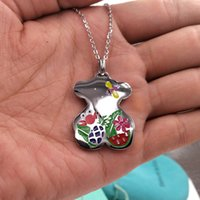 Wholesale silver dragonfly necklace pendants - Women Fashion Design Stainless Loving Enamel Leaf Dragonfly flower Pineapple watermelon bears Necklace Party gift jewelry El oso de collar