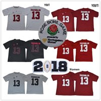 Wholesale full bowl - Alabama Crimson Tide Jersey Tua Tagovailoa Jersey 2018 Rose Bowl Playoff Patch Men Women Youth Home Away