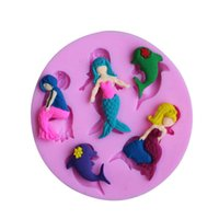 Wholesale fondant cake decorations - ECO Friendly Silicone Mermaid Design Sugar Cake Mold Chocolates Fondant Creative Kitchen Baking Moulds Fun Decoration Tools 2 6dy Z