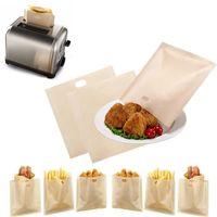 saco das fritadas venda por atacado-3 Pçs / set Antiaderente Reutilizáveis Resistente Ao Calor Sacos De Torradeira Sanduíche de Batatas Fritas Sacos de Aquecimento Utensílios de Cozinha Gadget Acessórios de Cozinha