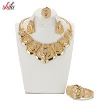 afrikanische kostüm schmuck silber groihandel-2017 SHILU Hohe Qualität Gold farbe Schmuck-Set Nigerianischen Hochzeits Afrikanische Perlen Modeschmuck Armband Ohrring Halskette Ring