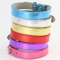 Wholesale Bright Color Leather Pet Collar for Puppy Dog Cat Outdoor Walking Training Pure Color Adjustable Collar Soft Pet Supplies