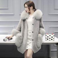 Wholesale Knit Mink Fur Coat - Faux Fur Coat Women Red Gray Fur Hooded Jacket Mink Luxury Women Long Coat Imitation Jacket