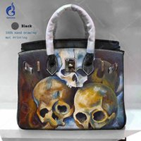 tote shoulder bag hand Australia - Genuine Leather Designer Bags Famous Brand Women Bags 2018 Cowhide Crossbody Shoulder Handbags Unique Art Hand Drawing Skull Casual Totes