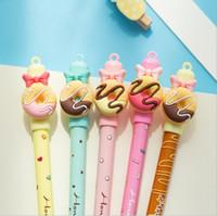 dulces bolígrafos regalos al por mayor-4 Piezas de Papelería de Lytwtw Donas Lindos Borrables Pluma de Gel Pluma Escuela de la Escuela Kawaii Supply Handles Creative Gift Candy
