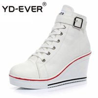 Wholesale Size Wedge Sneakers - YD-EVER Women Causal Shoes Woman Hidden Wedge Shoes Breathable Sport Canvas sneakers Platform Female plus size boots