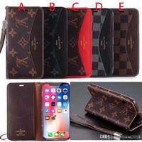 kordon telefon kılıfı cüzdan toptan satış-Iphone XS MAX durumda marka tasarım kapak deri cüzdan kılıf telefon kapak iphone X 7 7 artı 8 8 artı 6 6 artı kart Cebi ile kordon ile