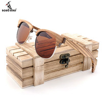 vögel handgefertigt großhandel-Bobo bird marke zebrastreifen design luxus sonnenbrille frauen original holz handgemachte sonnenbrille mann mode vintage style 2017