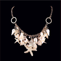 Wholesale Plant Elements - 2018 New Fashion Beach Wind Shell Conch Star Pendant Necklace Moonlight Gemstone Ocean Element Necklace For Women Jewelry Accessorie