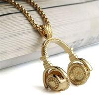 Wholesale Necklace Earphones - 2018 New Arrival Gold Color Men Women Charm Rhinestone Headset Pendant Necklaces Headphone Earphone Bling Chain Necklace Jewelry