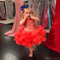 vestido formal de las niñas de coral al por mayor-2019 Lovely Coral Little Girls Cupcake Vestidos Vestidos Cristales moldeados Ruffed Ruffles Tutu Faldas Niños Vestidos formales Vestidos de niña