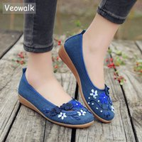 03776c9744427 2019 Casual Veowalk Brand 3D Flowers Appliques Women Linen Slip on Ballet  Flats Breathable Fabric Ladies Casual Chinese Shoes ballerina