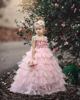 Wholesale wedding dress cake images resale online - 2018 Princess Lovely Pink flower girl dresses Cake Tiered Tulle Handmade Flowers Girls Pageant Dresses Customized Little Girls Pageant Dress