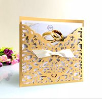 Hot selling 2019 New Style Laser Cut Folded Cards for Wedding Invitations Birthday Engagement Greeting Invitations Cards Use+ Free Envelopes+ Free