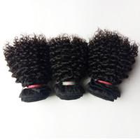 avrupa bakire saç uzantıları toptan satış-Güzel Noel saç atkı Brezilyalı Avrupa Virgin İnsan Saç 3 adet Sapıkça Kıvırcık 8-12 inç seksi Hint Moğol remy Saç uzantıları