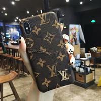 enchufes de celular al por mayor-Lujo Fashion Show Leather para iPhone X XS Max XR 8 Plus Proteger Shell Plug Card Metal Tag Caja del teléfono móvil Contraportada para iphone 6 6S 7 plus