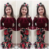 Wholesale 3pcs clothes online - New Baby Girl Off Shoulder Velvet Top Flower Bowknot Bellbottoms topknot set Oufit Kids Girls Clothing Toddler Fashion Boutique Costume