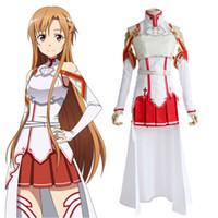 anime schwert kunst großhandel-Anime SAO Schwert Art Online Asuna Cosplay Kampfanzug Kostüm Halloween Party Kleid Wear Outfit