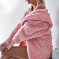 ingrosso caldi cardigan con cappuccio lungo lana-Casual Faux Fur Furry Womens Winter Soft Wool Fleece Thick Warm Coat Manica lunga Cardigan con cappuccio Allentato Capispalla Overcoat 6Q2157
