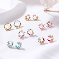 Wholesale colorful studs for ears for sale - Group buy Sweet Flowers Floral Circle Earrings for Women Girls Fashion Colorful Rhinestone Ear Studs Dangle Simulated Earring Gift