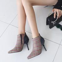ingrosso scarponi di tacco-2018 Moda sexy stivali plaid pu + panno di lana zip alta spool tallone scarpe a punta donna stivaletti taglia 32-48 CJL5-83