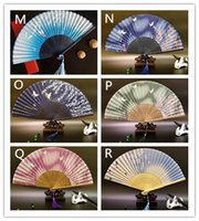 Wholesale gift box decoration vintage - Hot 100pcs Vintage Chinese Spun Silk Flower Printing Hand Fan Folding Hollow Carved Hand Fan Event & Party Supplies