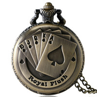 Wholesale poker styles - Fashion Royal Flush Poker Pattern Quartz Pocket Watch Men Women Children Steampunk Style Necklace Chain Clock Gift