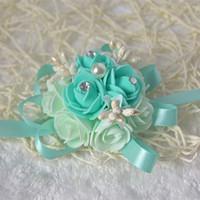 corsages poignets violets achat en gros de-5pcs / lot haute qualité fait main tiffany bleu mariage poignet fleur pourpre mariée demoiselles d'honneur poignet corsages bouquets de mariée