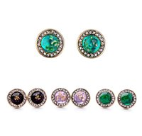 Wholesale black stone jewellery - Black   Purple   Green Round Crystal Stud Earrings Women Imitation Natural Stone Ear Stud Jewelry Accessories Wholesale Jewellery