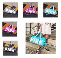 Wholesale large print box online - Girl Stripe Duffle Bag Beach Printing Letter PINK Shoulder Bag Large Capacity vs Travel Bag Handbag DDA163