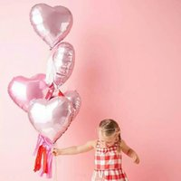 Wholesale I Love Balls - 5pcs 18 inch Pearl Pink Love Heart Foil Balloons Helium Balls Wedding Birthday Party Decoration i love you Marriage Globos orbs
