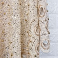 Wholesale Dress Fabric Textile - Embroidered Textiles for Dresses with Sequins Beads 5yds. lot Lace Fabric CHEAPEST Gold Color CAF464 Waterproof Fabric 125cm Width