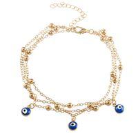 boho tarzı mücevherat toptan satış-Boho Tarzı Katmanlı Püskül Halhal Zinciri ile Gözler Kolye Plaj Ayarlanabilir Zincir Halhal Moda Aksesuarları Takı Hediye