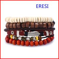 Wholesale Handmade Wooden Bracelets - Jewelry Vintage Leather Bracelet for men Stocks Selling DIY Set Handmade Wooden Bead Bracelet
