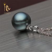11мм подвеска из белого жемчуга оптовых-10-11 мм нимфа черный таитянский жемчуг кулон ожерелья ювелирные изделия 18 к белое золото высокое качество D01