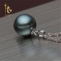 ingrosso pendente bianco perla di 11mm-10-11mm NYMPH Black Tahitian Pearl Pendant Collane Fine Jewelry 18K White Gold Alta qualità D01