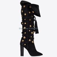 botas de becerro de la borla al por mayor-Negro Faux Suede Rivet Chunky High Heel Mid Calf Boots Over Edge Botas plisadas Lady Cross Cross Tied Tassel Slip On