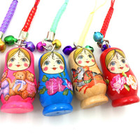 Wholesale wooden matryoshka doll - Cartoon Wooden Matryoshka Doll Russian Doll Phone Chain Key Pendant Accessories Toys For Iphone Adroid Smart Phones