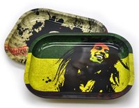 Wholesale tool roll pattern resale online - Tobacco Tray Rolling Papers Tray Metal CM pattern Smoking Accessories Machine Tools BOB MARLEY